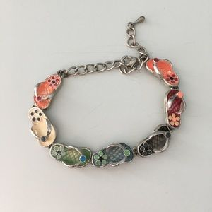 "Jewelry - JEWELRY - flip flop - multi color 9"" bracelet"